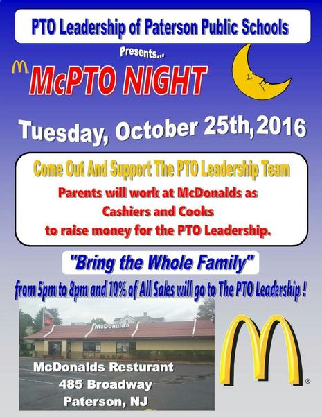 McPTO Night on October 25th Please Support