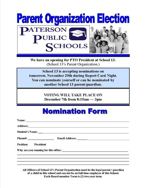 PTO Nomination Form for President