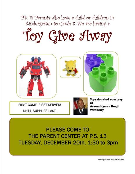 Toy Give Away for Kindergarten to Grade 3